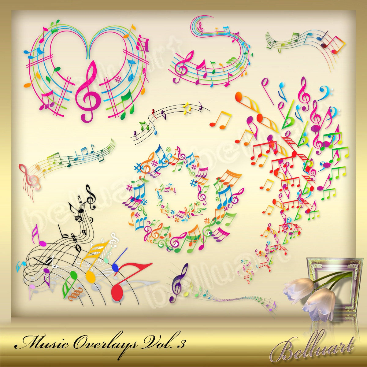 10 Music Overlays Vol. 3 - Music Note clip art - colorful musical ...