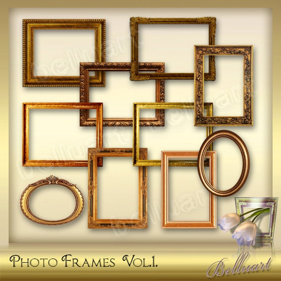 10 Photo Frames Vol 1 Photoshop Digital Picture Frames Etsy