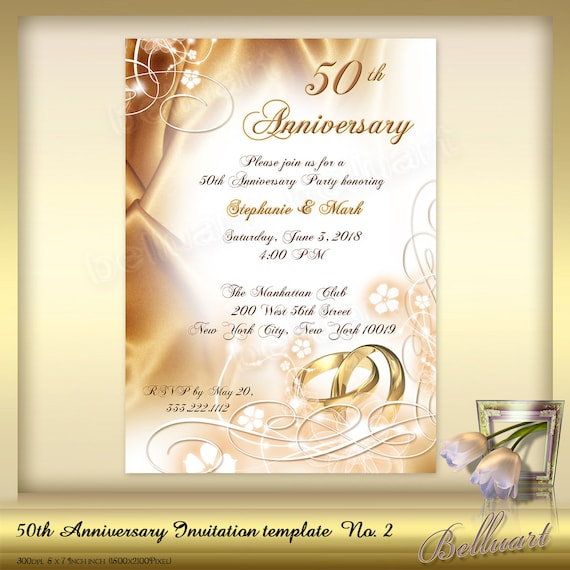 Anniversary Invitation Template | 50th Anniversary Invitation Template No 2 Golden Wedding Etsy
