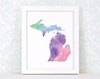 Michigan art print, personalized map art, original watercolor painting, heart map print, personalized Christmas gift or moving away gift