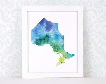 Ontario art print, personalized map art, original watercolor painting, heart map print, personalized Christmas gift or moving away gift