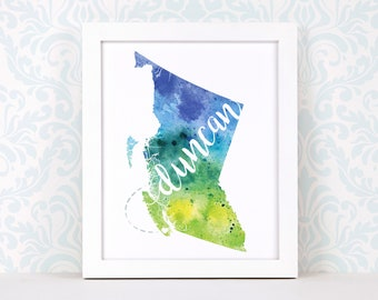 British Columbia print, personalized map art, original watercolor painting, hometown art, personalized Christmas gift or moving away gift