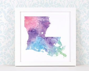 Louisiana art print, personalized map art, original watercolor painting, heart map print, personalized Christmas gift or moving away gift