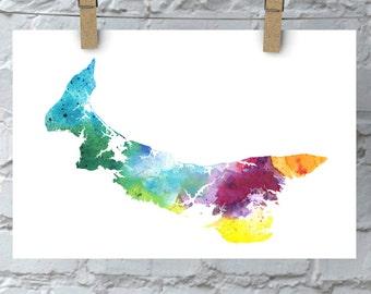 PEI Watercolor Map - Giclée Print of Hand Painted Original Art in Rainbow Colors