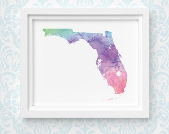 Florida art print, personalized map art, original watercolor painting, heart map print, personalized Christmas gift or moving away gift