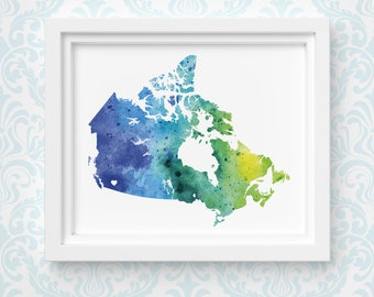 Canada art print, personalized map art, original watercolor painting, heart map print, personalized Christmas gift or moving away gift