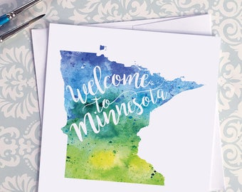 Welcome to Minnesota map art greeting cards, blank greeting card, watercolor painting of Minnesota art, moving house card, moving away gift