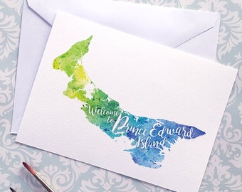 Welcome to Prince Edward Island map art greeting cards, blank greeting card, watercolor painting of PEI art, moving house card, moving away