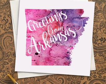 Greetings from Arkansas map greeting card, blank greeting card with watercolor painting of Arkansas map art, Wedding save the date card