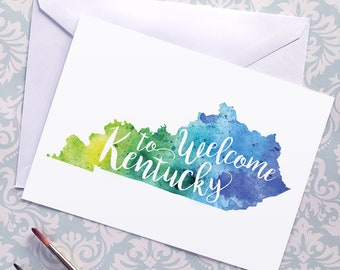 Welcome to Kentucky map art greeting cards, blank greeting card, watercolor painting of Kentucky art, moving house card, moving away gift