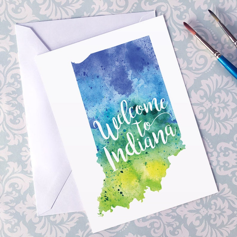 Welcome to Indiana Watercolor map greeting card, housewarming or moving on washington state map postcard, indiana state park campground maps, ohio state map postcard, indiana united states map,