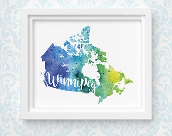 Canada art print, personalized map art, original watercolor painting, hometown art, personalized Christmas gift or moving away gift
