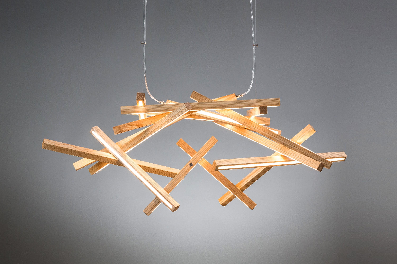 Led wooden chandelier interstellar xl led lamp wood lamp etsy