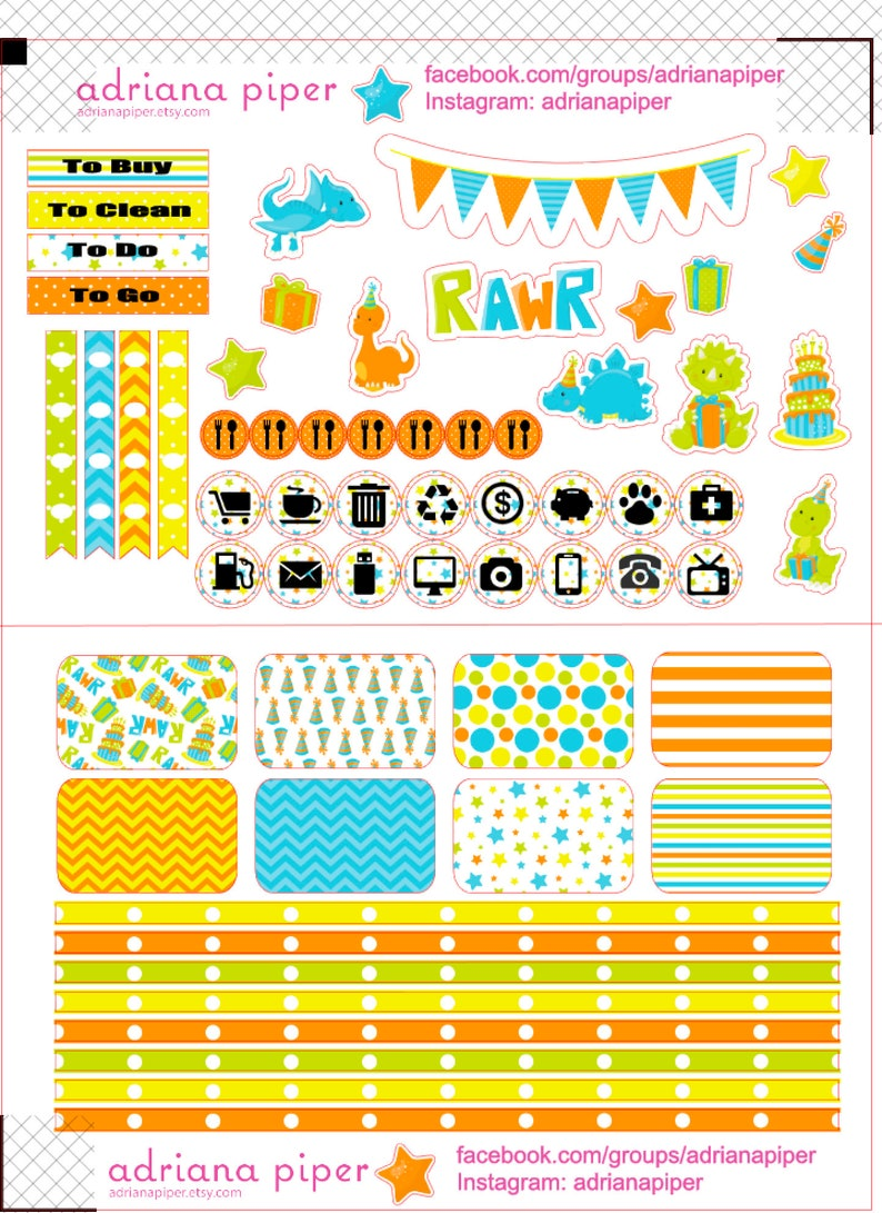 Calendar or Scrapbook EN- Filofax Dinosaur Birthday Kit for Erin Condren Life Planner Kikki K Plum Paper Planner