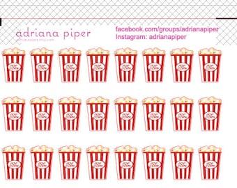 Popcorn Bucket Stickers for Erin Condren Life Planner, Plum Paper Planner, Filofax, Kikki K, Calendar or Scrapbook EN-