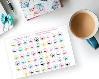Coffee Cup Stickers 53 ct for Erin Condren Life Planner, Plum Paper Planner, Filofax, Kikki K, Calendar or Scrapbook FD-100