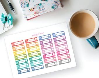 Bill Due Box Stickers for Erin Condren Life Planner, Plum Paper Planner, Filofax, Kikki K, Calendar Scrapbook HF-408