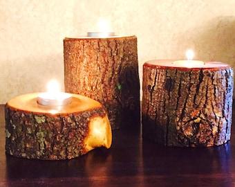 Natural Wood Candle Tea Light Holder (Individual or Set), Tree Wood Candle Holder, Tealight Holes Candle Holder, Log Wood Tealight Holder