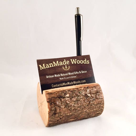 Wood Business Card Holder Wood Pen Holder With Bark Desk Etsy