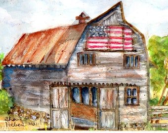 Patriotic Old Barn with Flag Original Watercolor and Pastels - Matted 14 inch x 11 inch