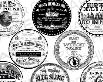 """Halloween Witch Labels 3"""" Round Poison Bottle Labels Potion Label Digital Download Collage Sheet Poison Apothecary Tags Apothecary Clip Art"""