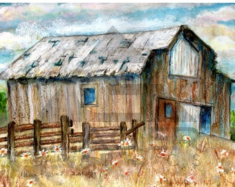 Northwest Country Old Barn in A Daisy Field Original Watercolor and Pastels - Matted 14 inch x 11 inch