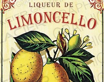 DIGITAL Vintage Liqueur de Limoncello Rustic Wall Print Large A3 Size - 11.75 inches x 16.5 inches