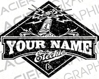 Vintage Custom Electrician Logo Custom Electrical Logo Etsy