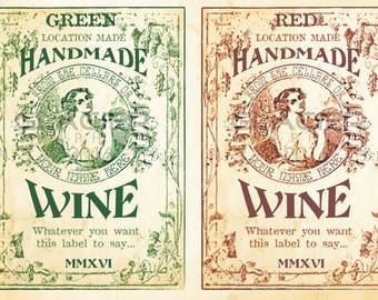 Customized Homemade Wine Bottle Labels Wine Labels Digital Download Homemade Wine Tag Custom Printable Wine Gift Tags Vintage Wine Labels