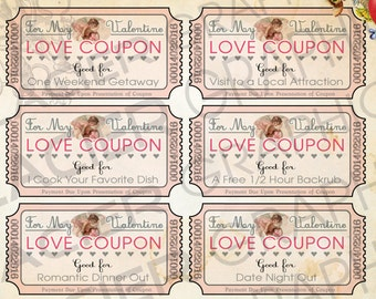 Valentine Love Coupons Business Card Template Valentine Gift Etsy