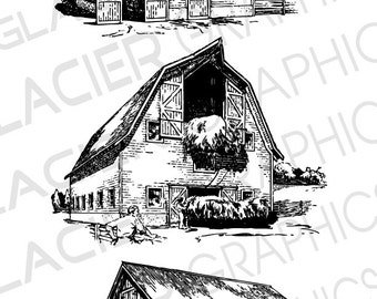 3 Barn Illustrations Vintage Clipart Vector Copyright Free Printable Digital Download Drawings