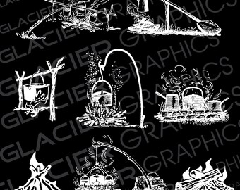 Vintage Reverse White Camping Outdoor Cooking Campfire Hand Drawn Illustrations Clipart Copyright Free