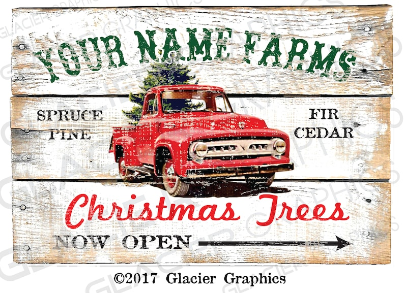 LARGE Customized Country Christmas Tree Farm Primitive Sign image 0