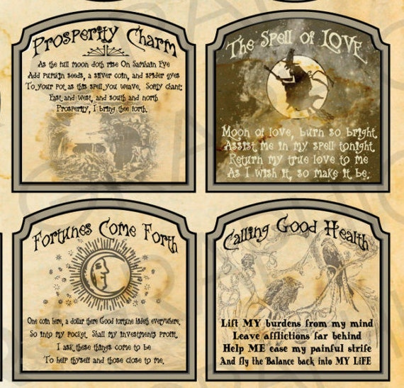 Witch Love Spell Love Potion Labels