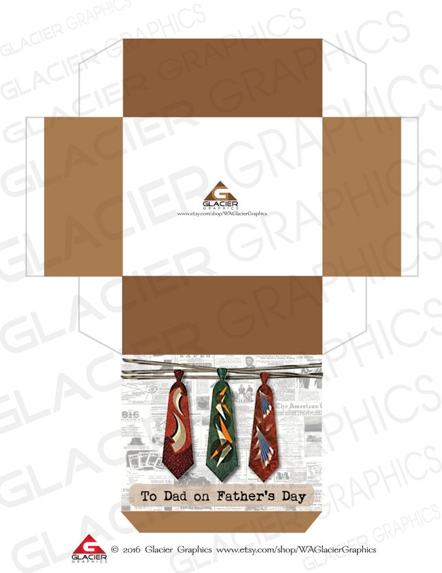Fathers Day Gift Box Template Diy Fathers Day Tie Etsy