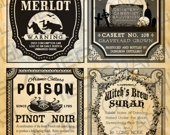 Vintage Halloween Witch Red Wine Labels Halloween Wine Bottle Labels Halloween Witch Potion Label Digital Download Printable Collage Sheet