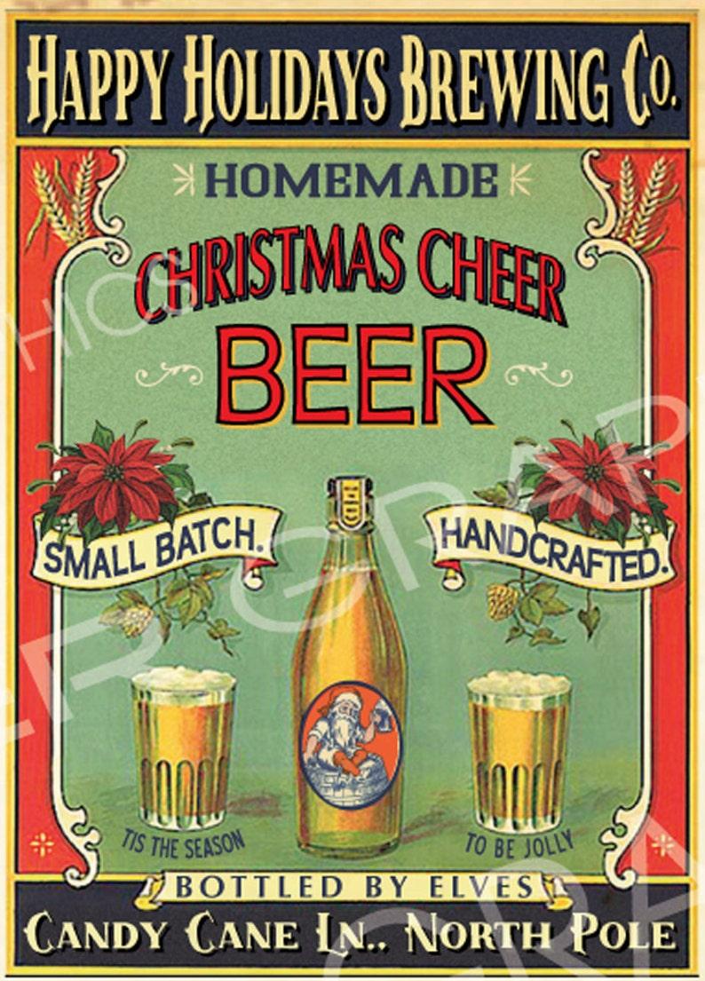 Large Vintage Homemade Christmas Beer Sign Digital Download Etsy