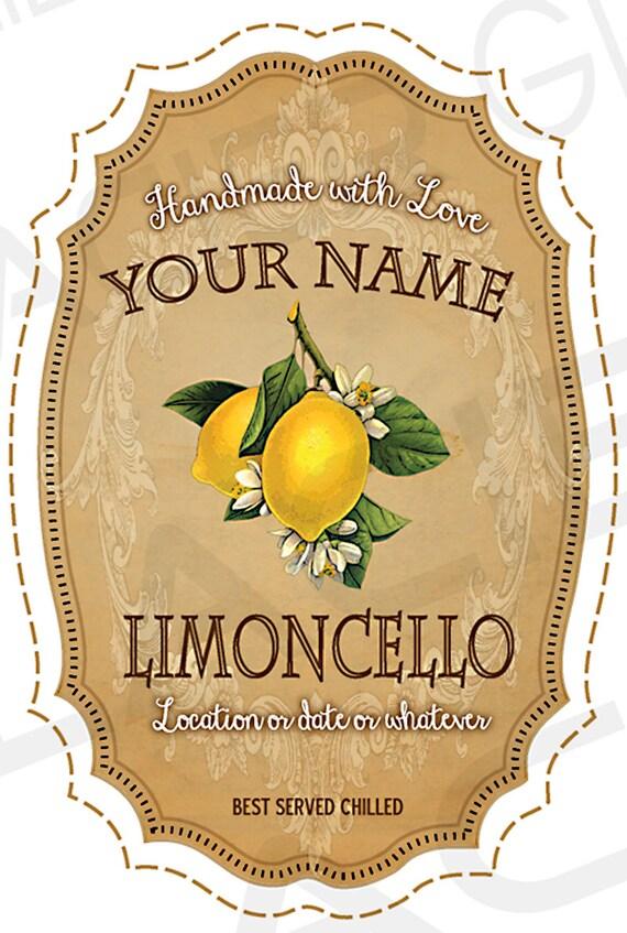 Customized Vintage Limoncello Labels Digital Diy Wedding Gift Etsy