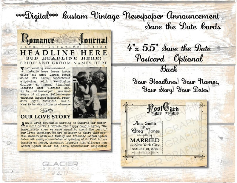 Wedding Announcements Newspaper.Digital Save The Date Postcard Vintage Newspaper Announcement Vertical Wedding Newsprint Announcement Save The Date Wedding Announcement