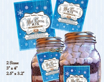 DIY Christmas Hot Cocoa Mix Label Chocolate Mix Tag Digital Download Printable Style Image Clip Art Collage Sheet Hot Chocolate Mix Recipe