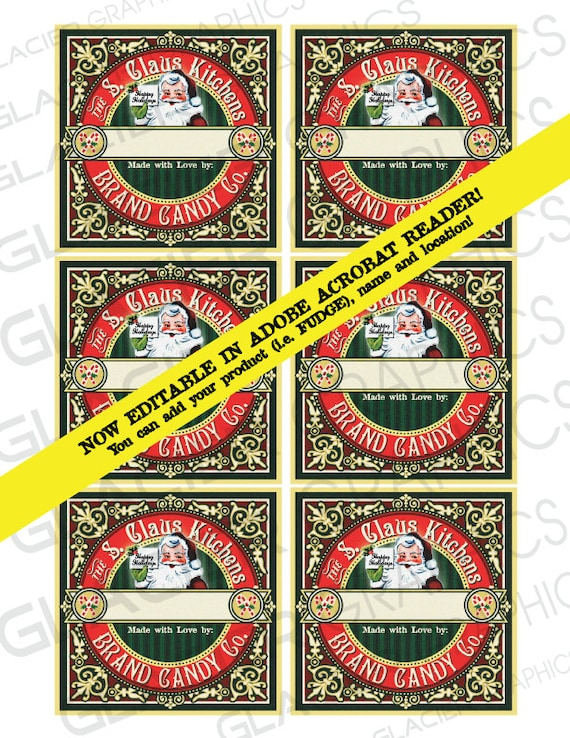 Editable Christmas Labels.Editable Candy Label Digital Download Christmas Printable Tag Clip Art Santa Candy Tags Editable Christmas Labels Instant Download