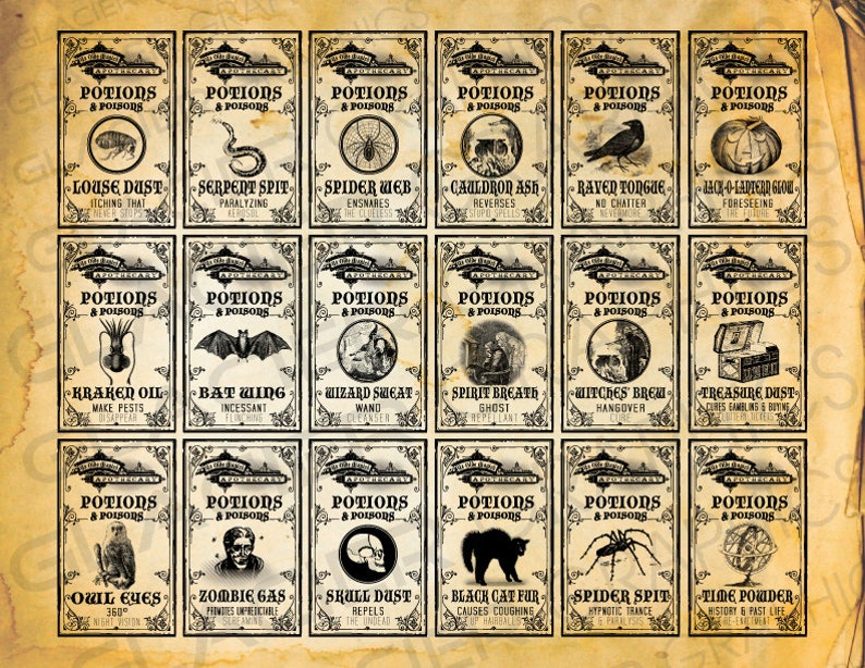 graphic about Free Printable Vintage Apothecary Labels named Poison WitchLabels Previous Apothecary Potion Labels Electronic Down load Bottle Jar Tags Common Design and style Impression Clip Artwork Printable Collage Sheet