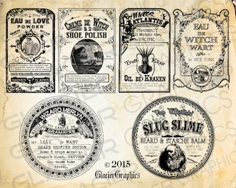 Halloween Witch Labels Vintage Poison Apothecary Tags Potion Bottle Halloween Bottle Labels Printable Collage Sheet Clip Art Scrapbooking