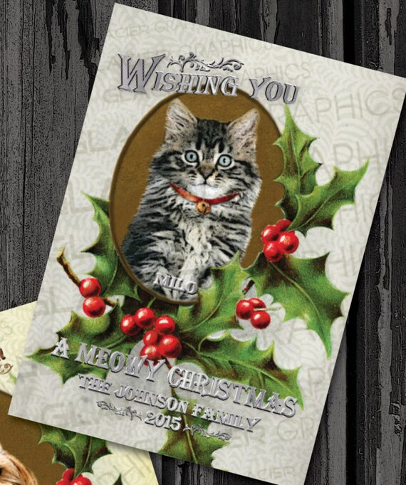 Cat Christmas Card Personalized Custom Vintage Dog Christmas Etsy