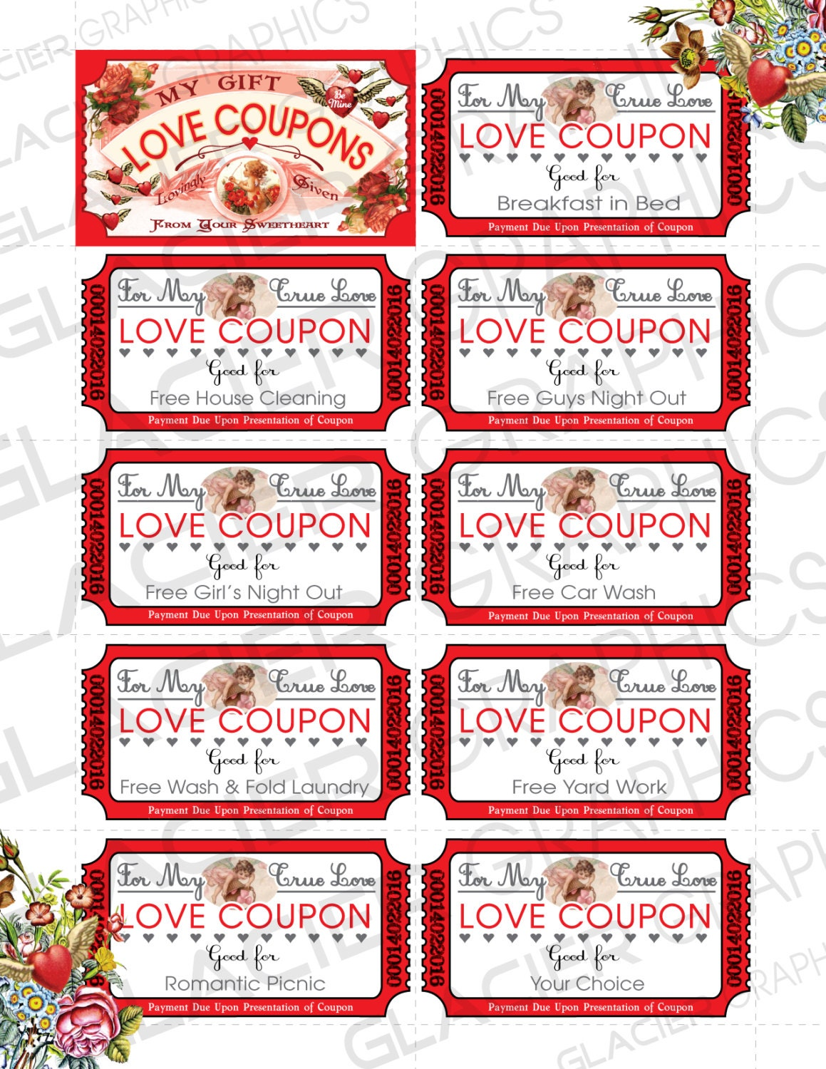 Valentine love coupons business card template valentine gift for her this is a digital file colourmoves
