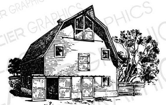 3 Barn Illustrations Vintage Barn Clipart Vector Copyright