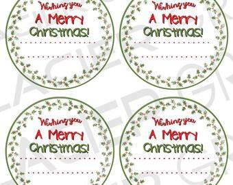 Editable Christmas Canning Label Merry Christmas Mason Jar Labels YOU ADD Text Christmas Digital Download Christmas Printable - White  PNG