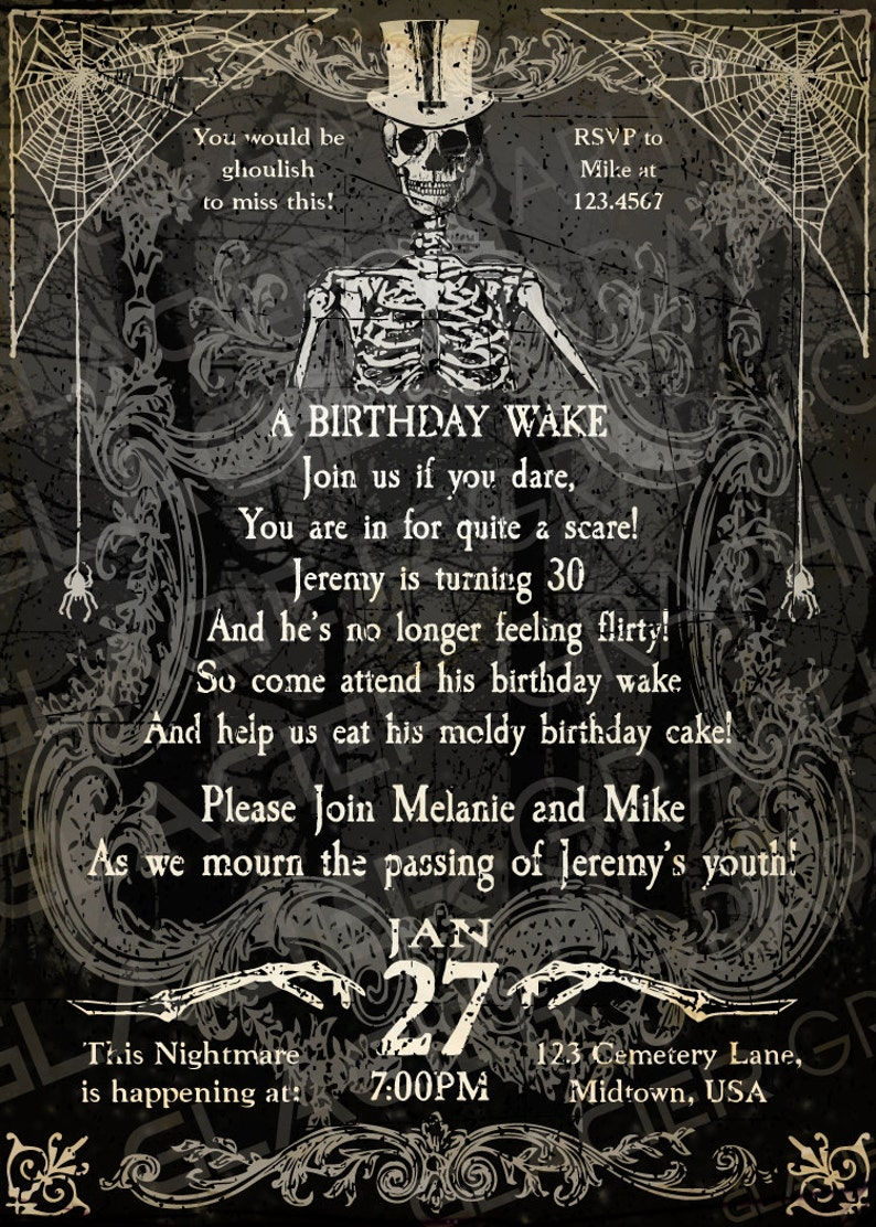 Halloween Skeleton 30th Birthday Invitation Funny