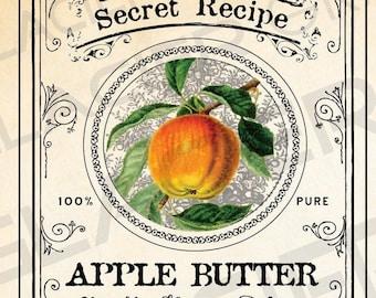 DIY Canning Labels Set Apple Butter Canning Labels Download Hang Tags Apple Butter Labels Apples Illustration Clip Art Print Vintage