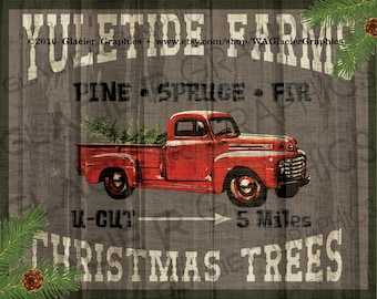 """LARGE U-Cut Country Christmas Trees Primitive Sign Digital 20""""x16"""" 14""""x11"""" Yuletide Farms Christmas Printable Scrapbook Collage Sheet"""